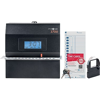 Pyramid 3700 Heavy Duty Digital Time Clock & Date Stamp, Black (3700)