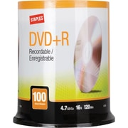 Staples 4.7GB 16X DVD+R Spindle, 100/Pack (12734)