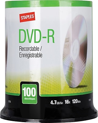 Staples 4.7GB 16X DVD-R Spindle, 100/Pack (12735)