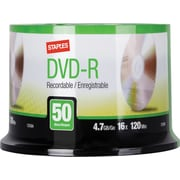 Staples 4.7GB 16X DVD-R Spindle, 50/Pack (13164)