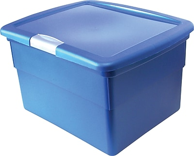 Staples® Plastic Hinged File Boxes w/Lid, Blue