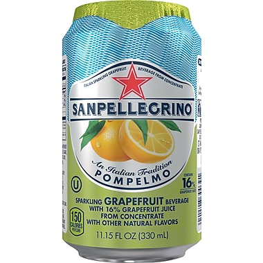 SANPELLEGRINO Sparkling Fruit Beverages, Pompelmo/Grapefruit 11.15-ounce Can, 12/Pack