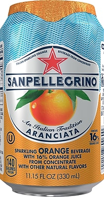 San Pellegrino® Sparkling Fruit Beverages, Aranciata/Orange, 11.15oz. Cans, Pack of 12 (12224740)