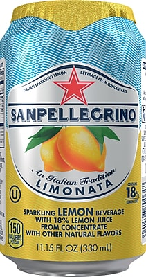 San Pellegrino® Sparkling Fruit Beverage, Limonata/Lemon, 11.15 oz. Cans, Pack of 12 (12177426)