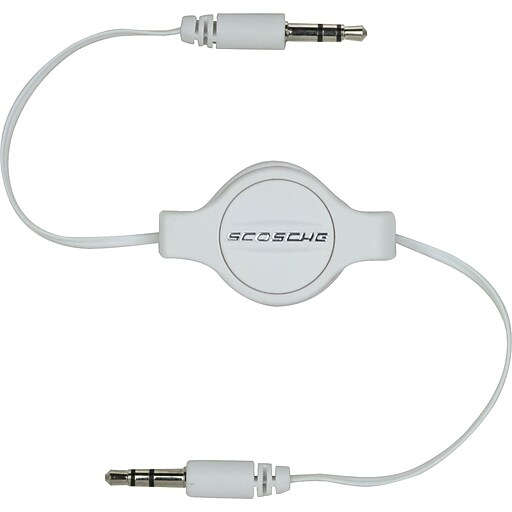 Scosche Retractable 3.5mm Auxiliary Audio Cable, White