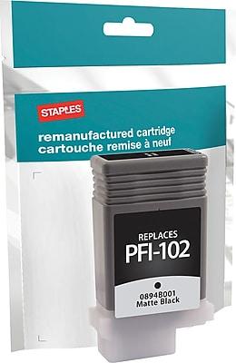 Staples® Remanufactured Inkjet Cartridge, Canon PFI-102, Matte Black