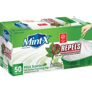 Mint-X® Rodent Repellent Drawstring Kitchen Trash Bags, 13 Gal., 50 Bags/Box (MX2427W50DS)