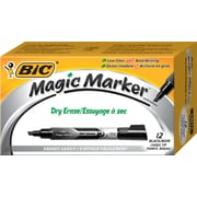 Bic Magic Marker Chisel Tip Dry-Erase Marker, Black, 12/Pack (GELIT11-BLK)