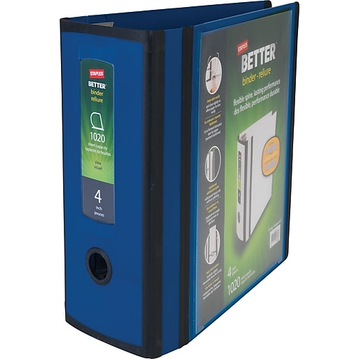 staples better 4 inch 3 ring view binder blue staples
