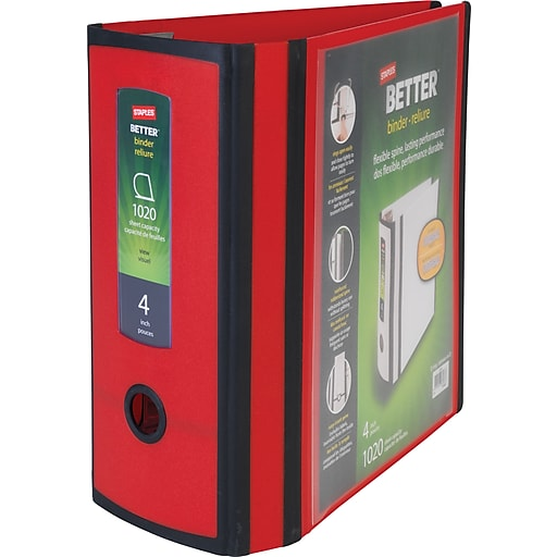 staples better 4 inch 3 ring view binder red staples