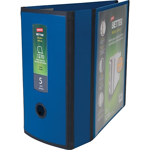 staples better 5 inch 3 ring view binder blue staples
