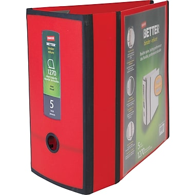 Staples Better 5-inch 3 Ring View Binder, Red
