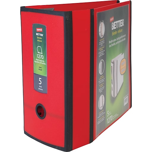 staples better 5 inch 3 ring view binder red staples