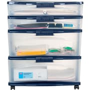 Staples/Bella Wide Locking Desktop Plastic Storage Drawer Cart, 4 Drawer
