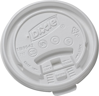 Dixie Plastic Lid for Dixie Sage Collection 10-16 oz. Hot Drink Cups, White, 1000/Carton 634092