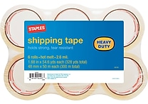 Staples Heavy Duty Shipping Packing Tape, 1.88' x 54.6 yds, Clear, 6/Pack (601376)
