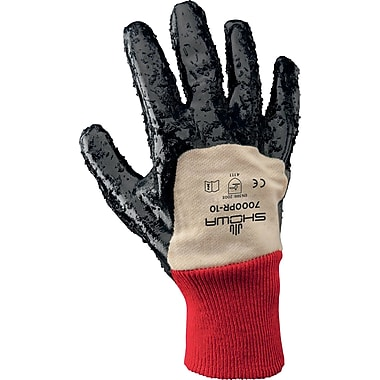 Best Manufacturing Company 1 Pair Nitrile Work Gloves, Blue, Red & White