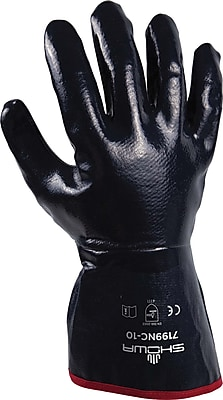 SHOWA® 7199NC Navy Gauntlet Cuff And Smooth Finish Fully Coated Work Gloves, 12/Pack