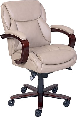 La-Z-Boy Arden Leather Managers Office Chair, Fixed Arms, Taupe (46587)