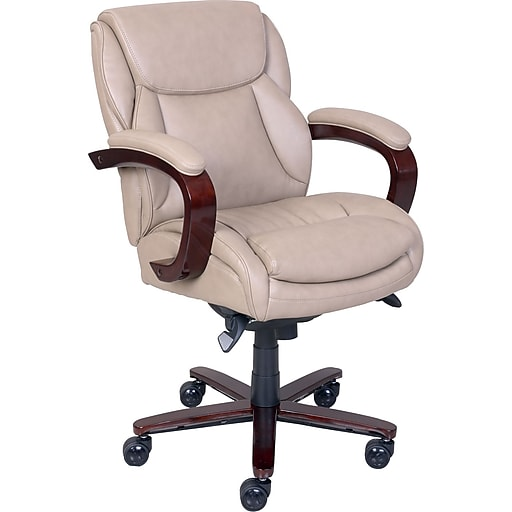 La Z Boy Arden Leather Managers Office Chair Fixed Arms Taupe