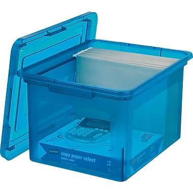 Staples® Letter/Legal File Box, Translucent Blue (140086)