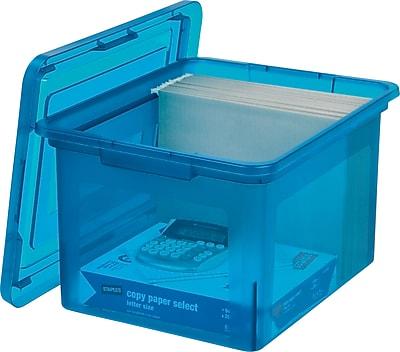 Staples® Letter/Legal File Box, Translucent Blue (140086)