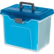 Staples® Portable File Box, Letter Size, Clear w/Blue Lid (110990)
