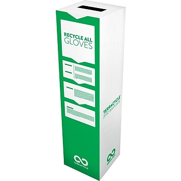 "TerraCycle Gloves Zero Waste Box, Plastic Recycling Container, 11"" x 11"" x 40"", White (50919)"