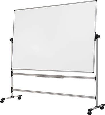 MasterVision® Earth-it Silver Easy Clean Reversible Mobile Presentation Easel, Silver, 80