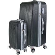 InUSA Houston Collection Black Lightweight ABS 2 pc Luggage Set