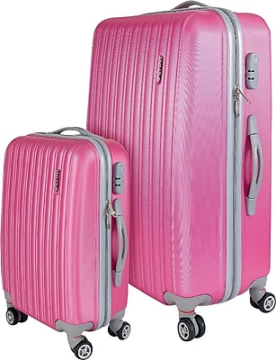 InUSA Houston Collection Pink Lightweight ABS 2 pc Luggage Set