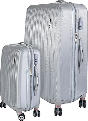 InUSA Houston Collection Silver Lightweight ABS 2 pc Luggage Set