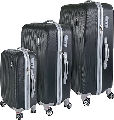 InUSA Houston Collection Black Lightweight ABS 3 pc Luggage Set