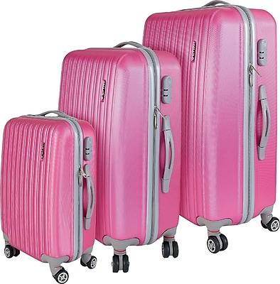InUSA Houston Collection Pink lightweight ABS 3 pc Luggage Set (IUHOUSMB-PNK) 1847881
