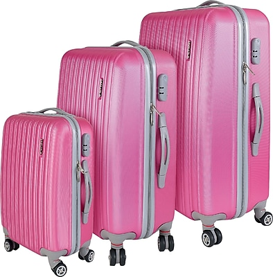 InUSA Houston Collection Pink Lightweight ABS 3 pc Luggage Set