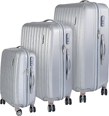 InUSA Houston Collection Silver Lightweight ABS 3 pc Luggage Set 1847880
