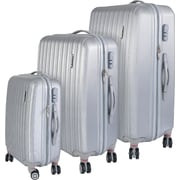 InUSA Houston Collection Silver lightweight ABS 3 pc Luggage Set (IUHOUSMB-SIL)