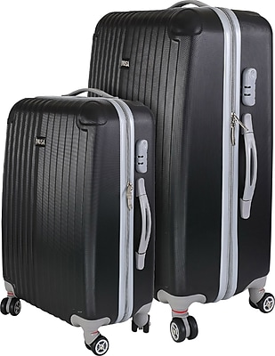 InUSA Los Angeles Collection Black lightweight ABS 2 pc Luggage Set (IULAX0MB-BLK)