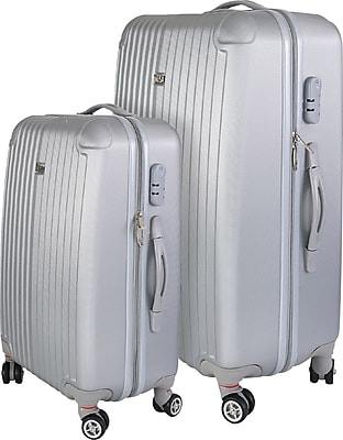 InUSA Los Angeles Collection Silver lightweight ABS 2 pc Luggage Set (IULAX0MB-SIL)