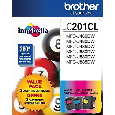 Brother LC201 Color Ink Cartridges, LC2013PKS, 3/Pack