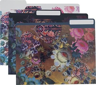 Cynthia Rowley Fashion File Folders, 3 Tab, Assorted Floral Print