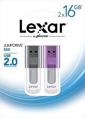 Lexar Jumpdrive S50 16GB USB 2.0 Flash Drive 2PK