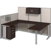 Bush Business Office in an Hour Collection 89W x 65D U Workstation with Storage and Accessory Kit-Installed