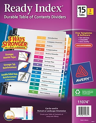 Avery(R) Ready Index(R) Table of Contents Dividers 11074, 15-Tab, 3 Sets