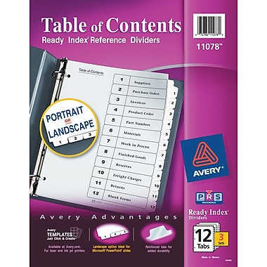 Avery(R) Ready Index(R) Table of Contents Dividers 11078, 12-Tab, 3 Sets