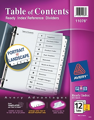 Avery Customizable Table of Contents Dividers, Ready Index Printable Section Titles, Preprinted 1-12 White Tabs, 3 Sets (11078)