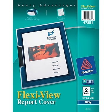 Avery(R) Flexi-View(TM) Report Cover 47851, Navy Blue, Pack of 2