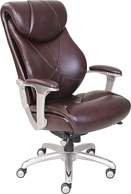 La-Z-Boy Cantania Leather Executive Office Chair, Adjustable Arms, Coffee Brown (45776)