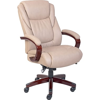 la-z-boy miramar leather executive office chair, fixed arms, taupe