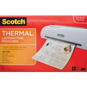 "Scotch Thermal Laminator Menu Size Pouches, 17.4"" x 11.4"" Overall Size,25/Pack,Clear"